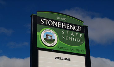 Stonehenge State School welcome sign
